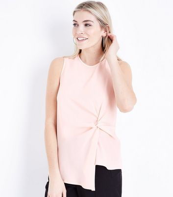 Shell Pink Asymmetric Twist Front Sleeveless Top New Look