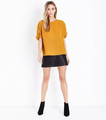 Mustard Crepe Frill Sleeve Top New Look