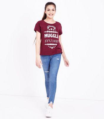 Teens Burgundy Harry Potter Slogan Print T-Shirt New Look