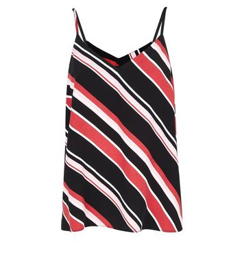 Black Contrast Striped Cami Top New Look