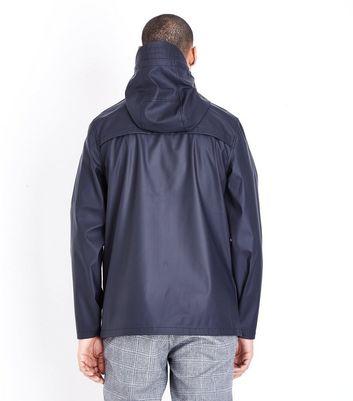 Navy Hooded Rain Coat New Look