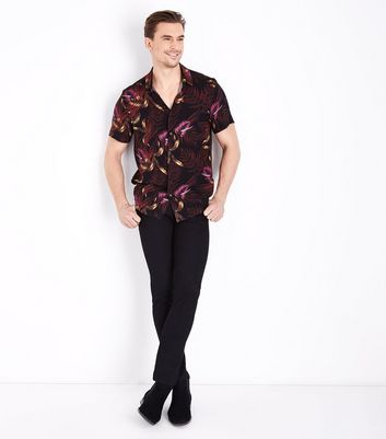 Black Floral Print Short Sleeve Shirt New Look