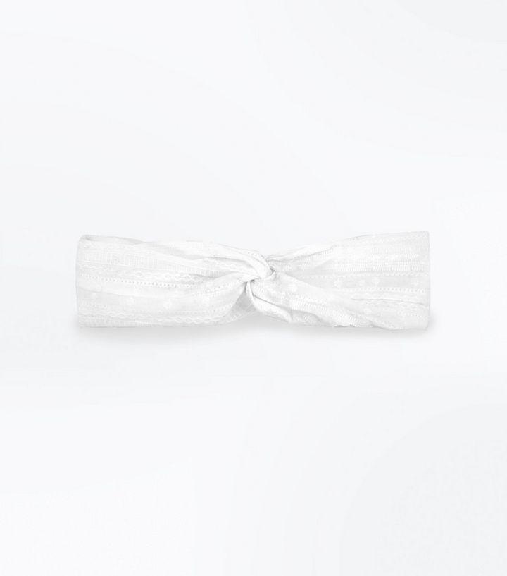 White Jacquard Twist Knot Headband  02ff45acc66