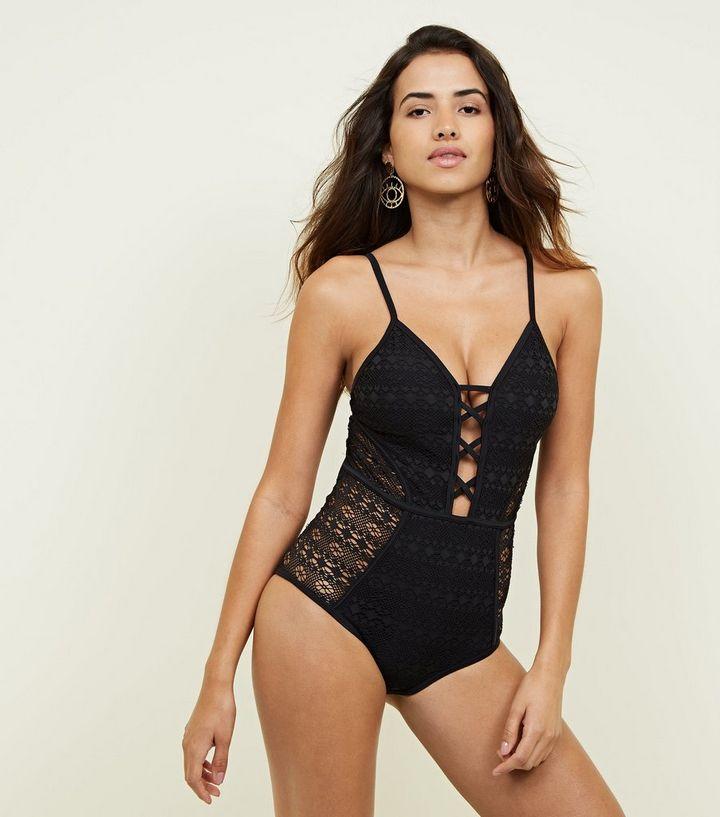Black Crochet Plunge Lattice Front Swimsuit New Look