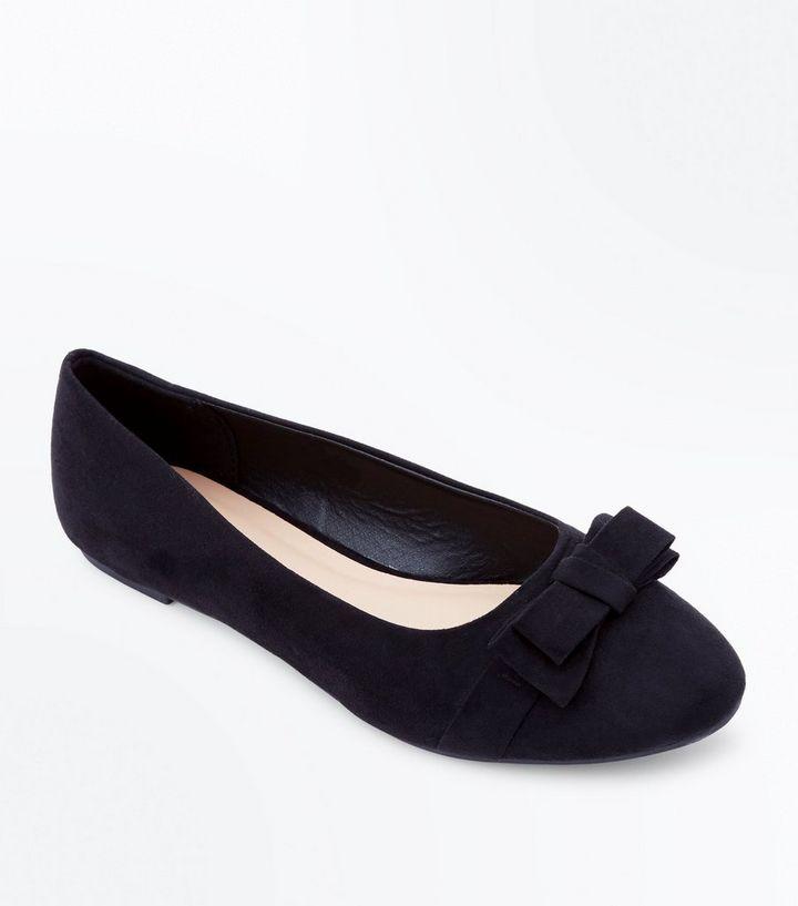 f2cb80865b7 Girls Black Suedette Bow Ballet Pumps