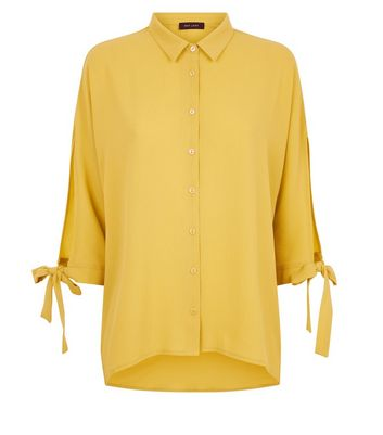 Mustard Tie Batwing Sleeve Shirt New Look