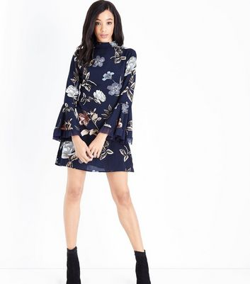 Parisian Navy Floral Bell Sleeve Dress New Look