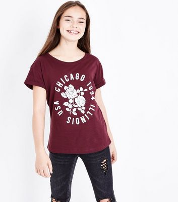 Teens Burgundy Chicago Floral Print T-Shirt New Look