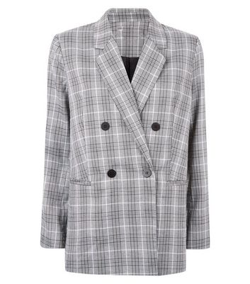 Cameo Rose Light Grey Price of Wales Check Double Breasted Blazer New Look