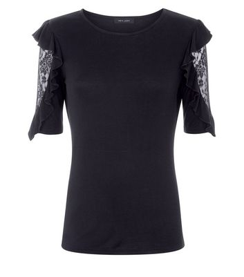 Black Lace Frill Sleeve T-Shirt New Look