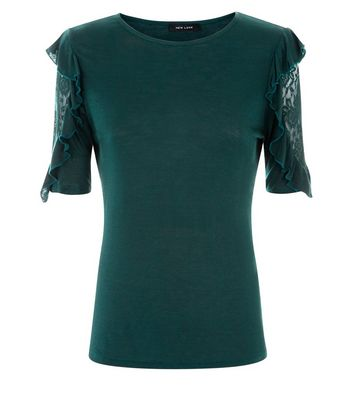 Dark Green Lace Frill Sleeve T-Shirt New Look