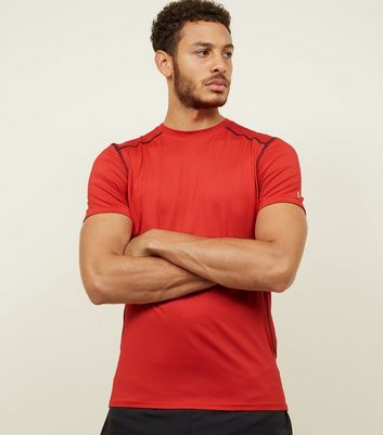 Red Stretch Short Sleeve Sports T-Shirt