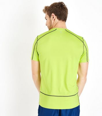 Yellow Stretch Sports T-Shirt New Look