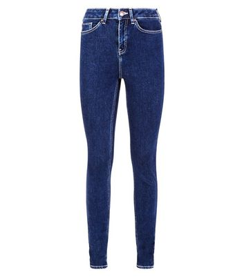 Tall Navy Contrast Stitch Skinny Jeans New Look