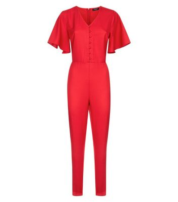 Tall Red Angel Sleeve Button Front Jumpsuit New Look