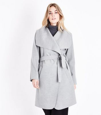 Parisian Grey Oversized Waterfall Belted Coat New Look