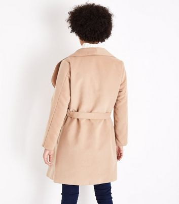 Parisian Camel Oversized Waterfall Belted Coat New Look