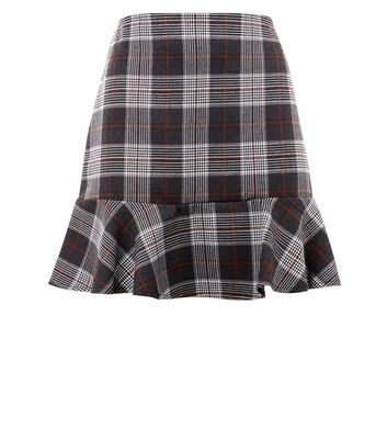 Parisian Brown Check Print Peplum Hem Skirt New Look