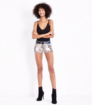 Parisian Blue Sequin Front Ripped Shorts New Look