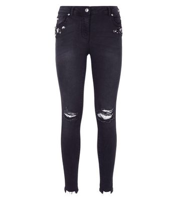 Parisian Navy Diamante Embellished Jeans New Look