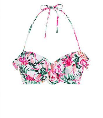 bd79715546eab White Tropical Frill Trim Underwired Bikini Top | New Look