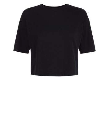 Black Cropped T-Shirt New Look