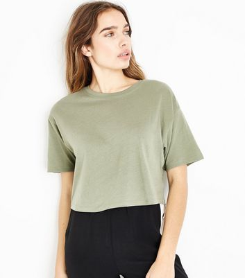 Khaki Cropped T-Shirt New Look