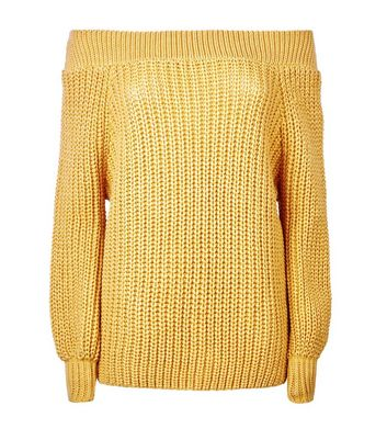 Petite Mustard Yellow Bardot Neck Jumper New Look