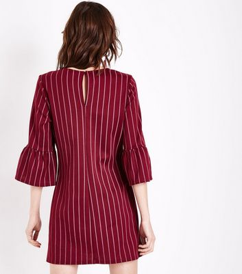 Burgundy Pinstripe Bell Sleeve Tunic Dress New Look