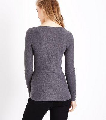 Dark Grey Button Front T-Shirt New Look
