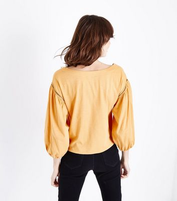 Mustard Sweetheart Neck Balloon Sleeve Top New Look