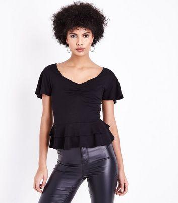 Black Ruched Front Peplum Hem Top New Look