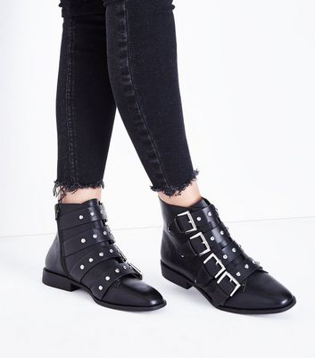 Black Stud Buckle Ankle Boots New Look