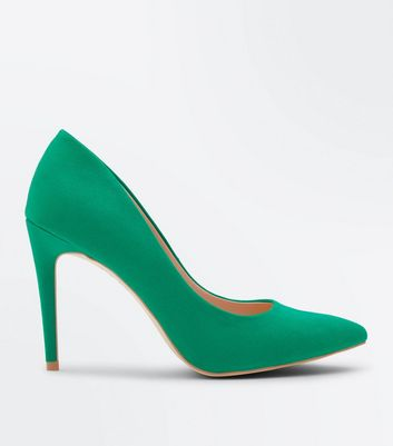 Green Suedette Pointed Court Shoes