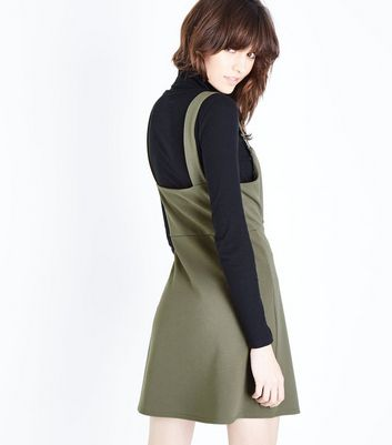 Khaki Crepe Scuba Pinafore Dress New Look