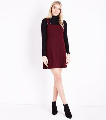Burgundy Scuba Crepe Pinafore Dress New Look