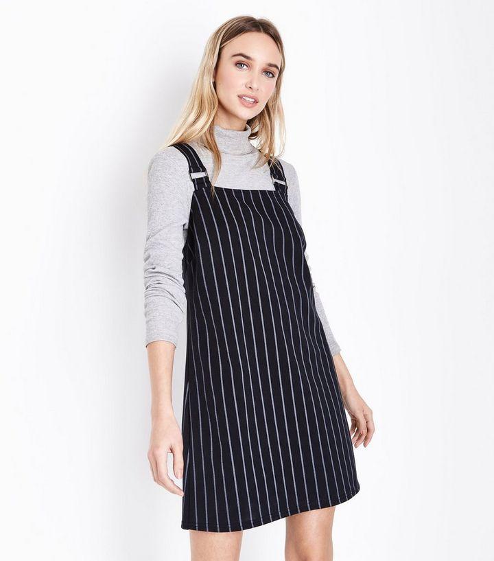 bb0567ed6e9 Black Pinstripe Pinafore Dress