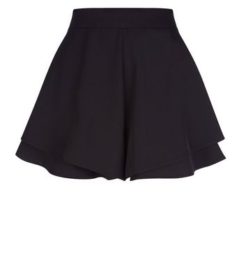 Cameo Rose Black Layer Hem Shorts New Look