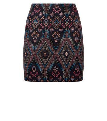 Petite Black Aztec Jersey Tube Skirt New Look