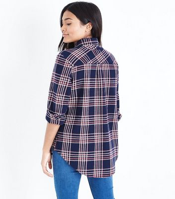 Petite Navy Check Pocket Front Shirt New Look