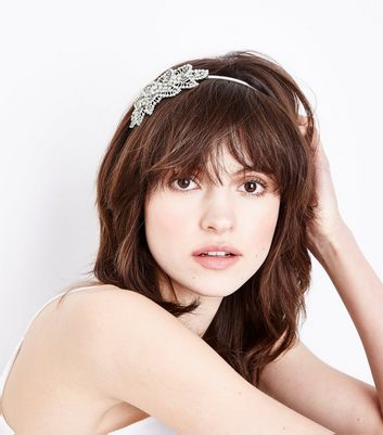 Silver Floral Embellished Headband New Look