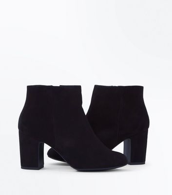 Wide Fit Black Suedette Block Heel Ankle Boots New Look
