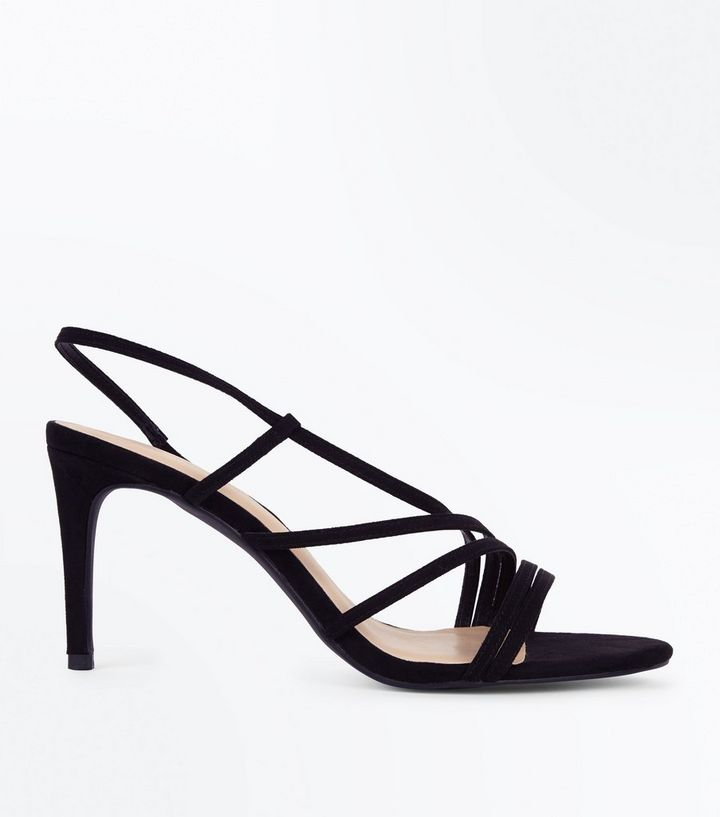 dc8f42e9915 Wide Fit Black Suedette Asymmetric Strappy Sandals