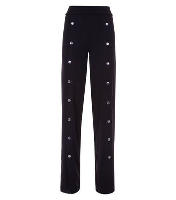 Cameo Rose Black Popper Front Trousers New Look