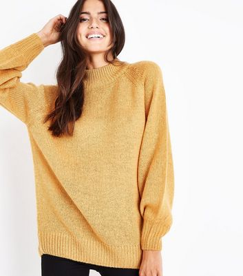 Mustard Yellow Ribbed Cuff Jumper New Look
