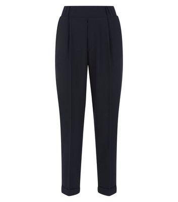 Innocence Black Roll Hem Slim Leg Trousers New Look