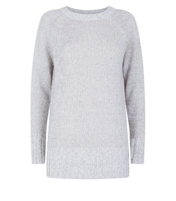 Pale Grey Longline Raglan Jumper New Look