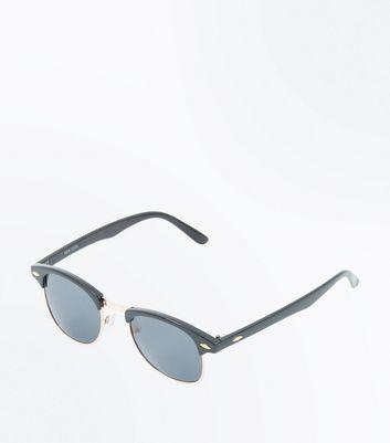 Black Oval Trim Sunglasses New Look