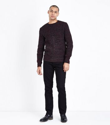 Burgundy Cable Knit Crew Neck Jumper New Look
