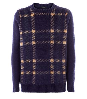 Navy Brushed Check Jumper New Look